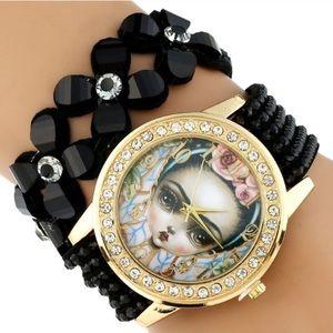 Accessories - Frida Kahlo Black Goth Sparkle Watch